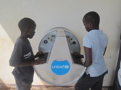 Pupils use the digital drum at Bardege ICT Center