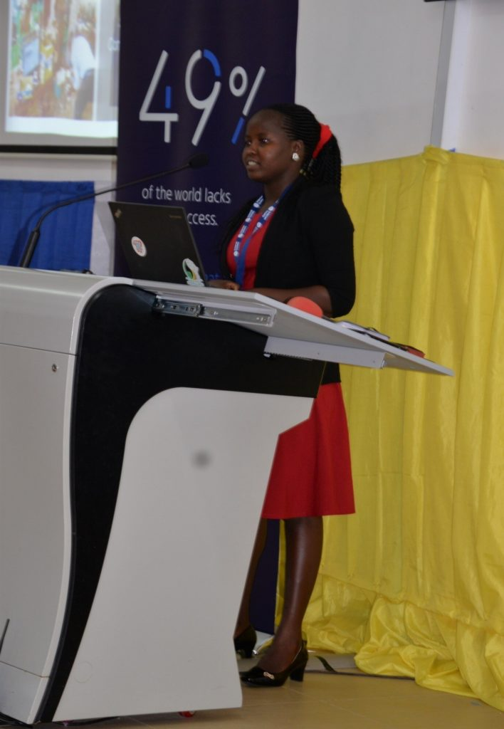 BOSCO Uganda ICT Officer Immaculate Laker presenting at the 2019 Community network summit