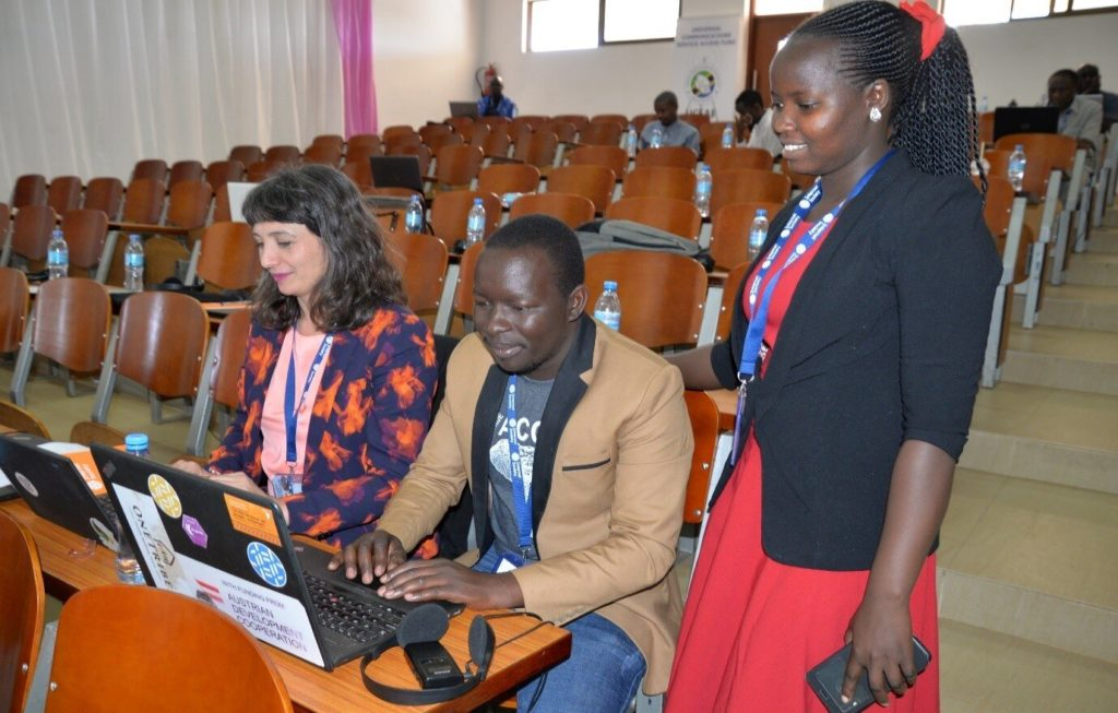 BOSCO Uganda's team led by Solomon Nono Okot and Immaculate at the community network summit in Dodoma